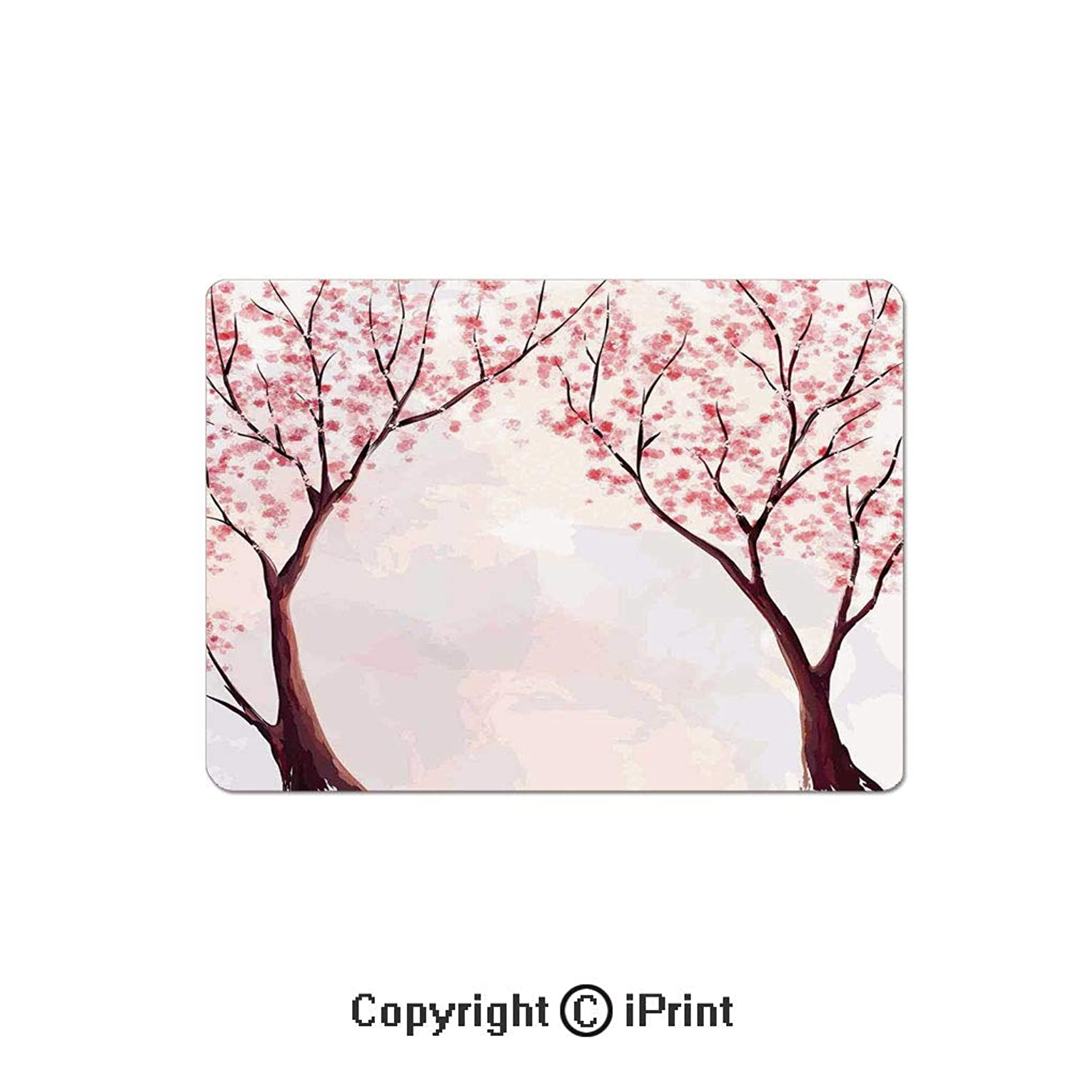 Oversized Mouse Pad,Japanese Floral Design Sakura Tree Cherry Blossom Spring Country Home Watercolor Style Gaming Keyboard Pad,9.8x11.8 inch Non-Slip Office Computer Desk Mat,Pastel Pink