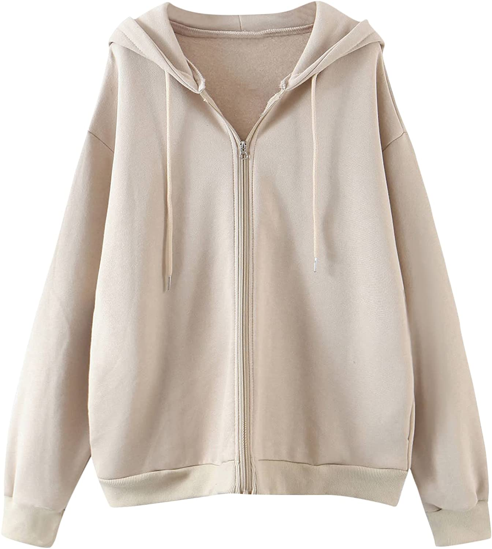 MakeMeChic Women's Zip Up Long Sleeve Oversized Drawstring Hoodie Hooded Sweatshirt