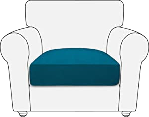 PureFit Stretch Fleece Non-Slip Sofa Couch Cushion Covers - Removable Chair Seat Covers for Dogs, Washable Elastic Furniture Slipcovers Protector for Kids and Pets (Chair, Peacock Blue)