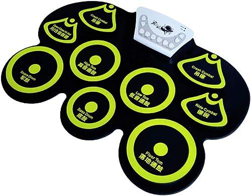 HXGL-Tambour Rouleau à la Main Entrée de Tambours électroniques Accueil Apprentissage Professionnel Jouant au Tambour Pliant portable Enfants Débutants (Couleur   Le Jaune)
