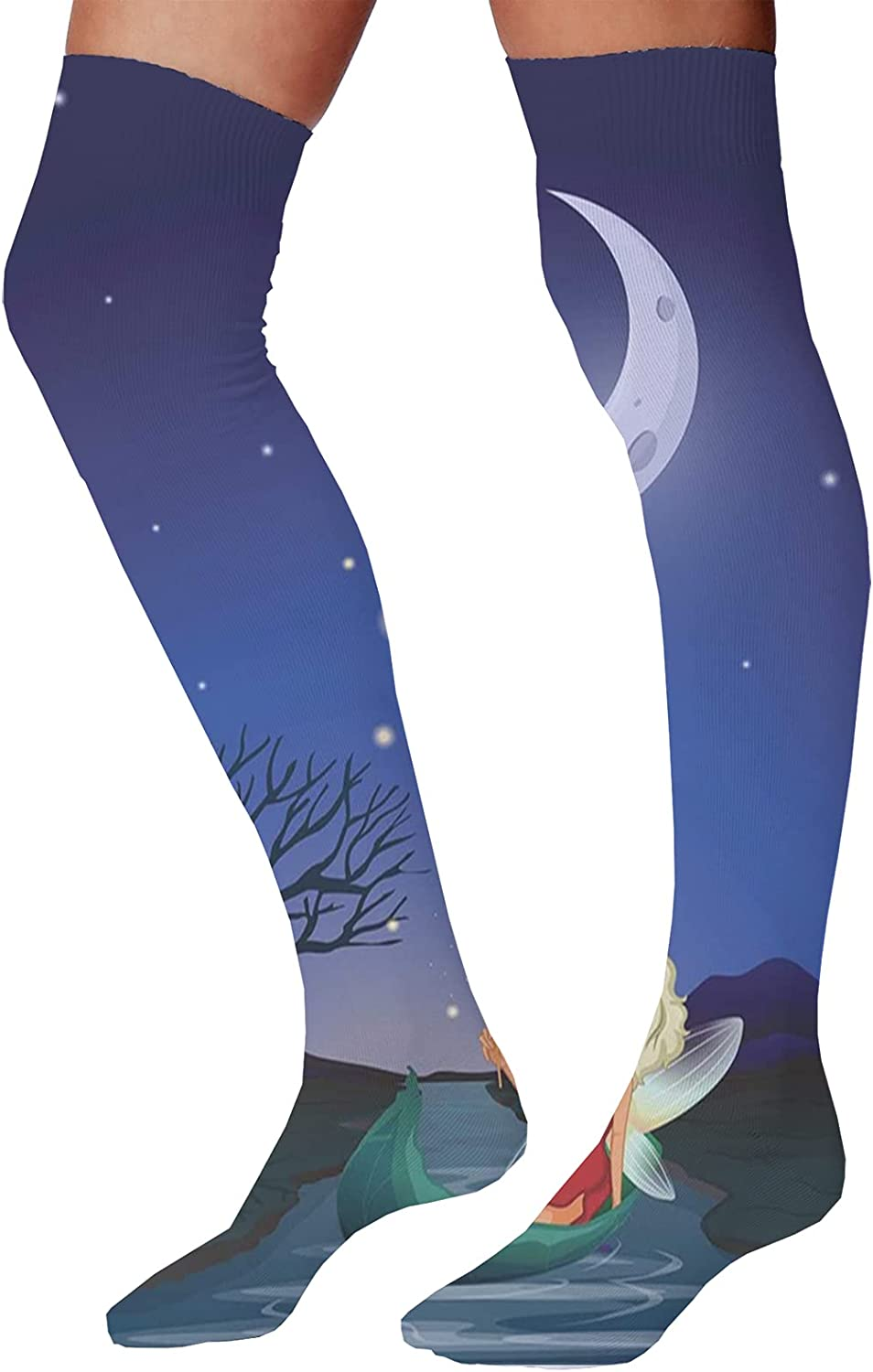 Women's Colorful Patterned UnisexElf Pixie Sitting on The Boat Under Full Moon Sky Night Magic Fairy Girlish Graphic