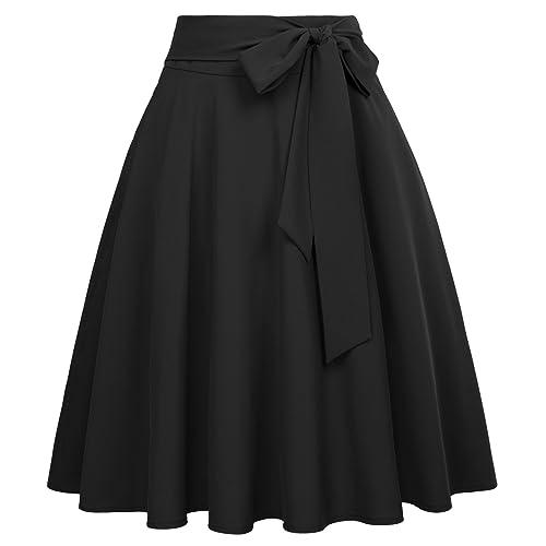 657a95b60f86 Belle Poque Women's High Waist A-Line Pockets Skirt Skater Pleated Midi  Skirt