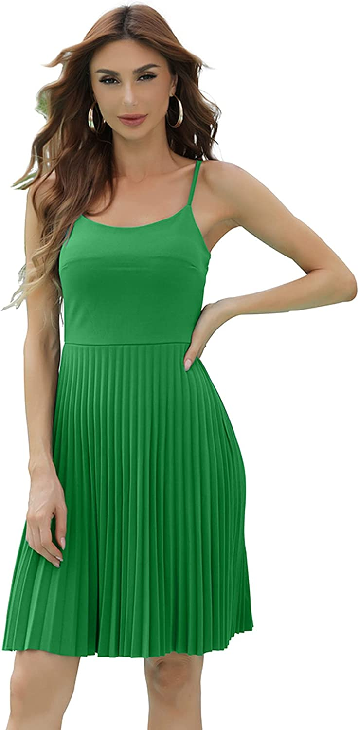 Double Chic Women's Sexy Ruched Adjustable Spaghetti Cami Dress Basic Solid Dress