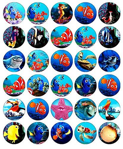 """30 cialde commestibili per decorare cupcake e torte, motivo """"Alla ricerca di Nemo"""""""