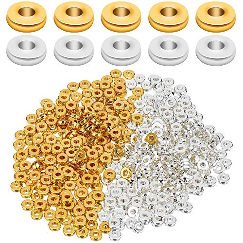 1000 Pieces 6 mm Flat Round Rondelle Spacer Beads Disc Spacer Loose Beads Jewelry Making Beads for DIY Bracelet Necklace Crafts (Gold, Silver)