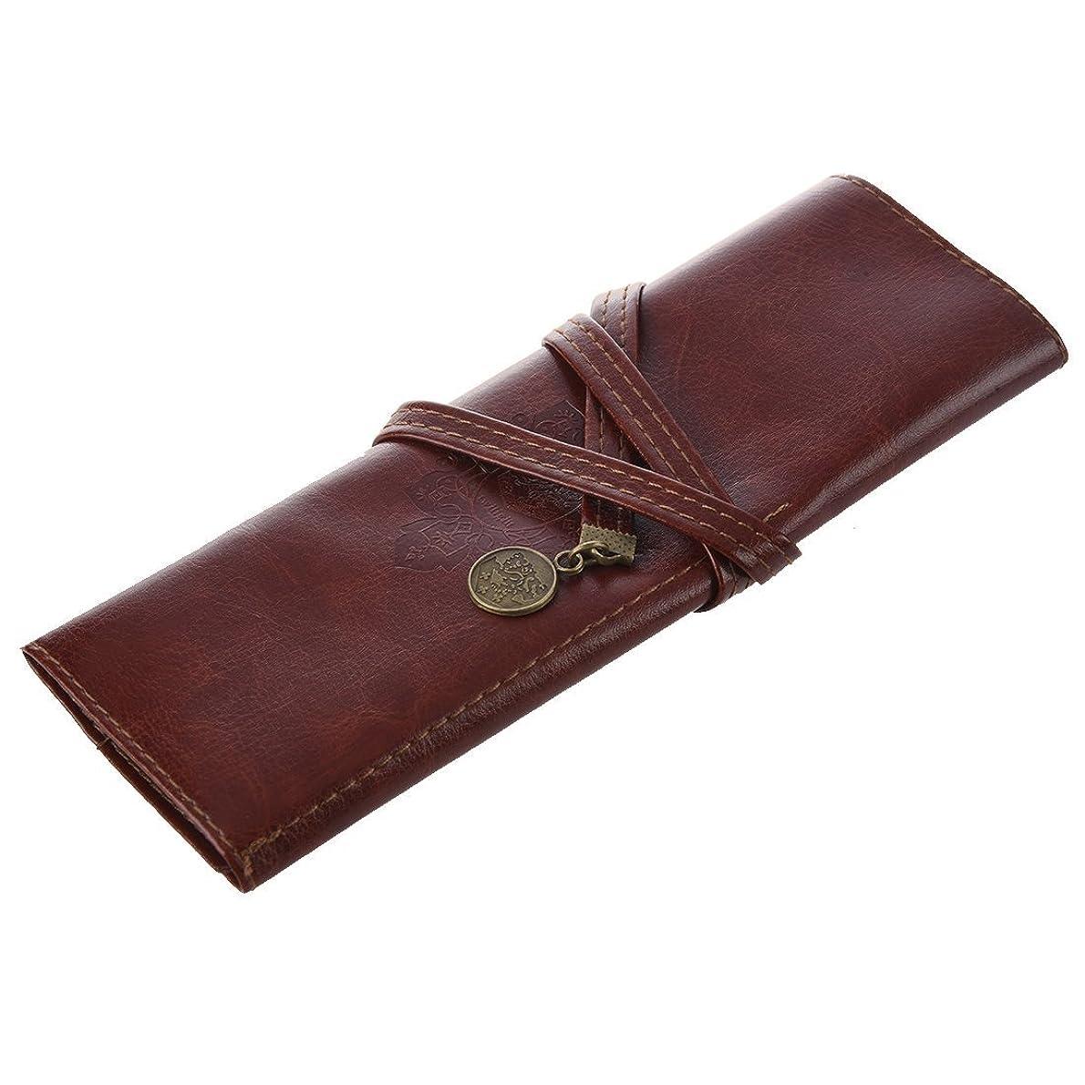 極地逆にホステル化粧ブラシバッグ,SODIAL(R) 1個のケースPUレザーペンペンシルケースペンシルバッグ化粧ブラシバッグ