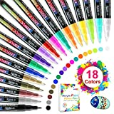 Acrylic Paint Markers Pens Set with 18 Colors Acrylic Paint Pens for Rocks Painting, Fabric, Wood, Canvas, Ceramic, Scrapbooking Supplies, DIY Crafts Making Art Supplies,Quick-Dry Paint Pens