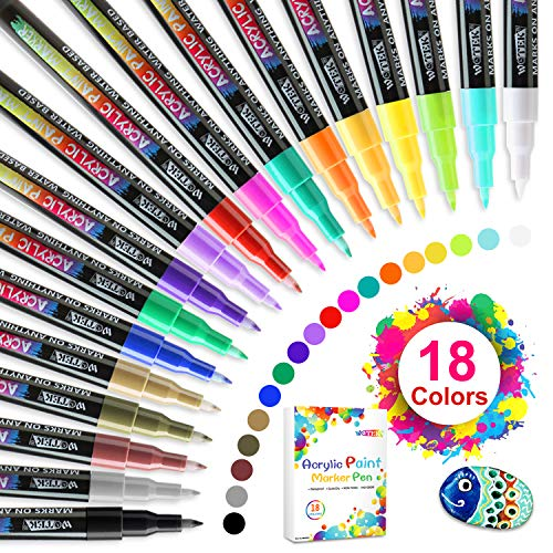 Acrylic Paint Markers Set of 18 Colors Acrylic Paint Pens For Rock Painting, Fabric, Canvas, Wood, Ceramic, Scrapbooking Supplies, DIY Christmas Crafts Art Supplies.Quick-dry, Non-Toxic Paint Pens.