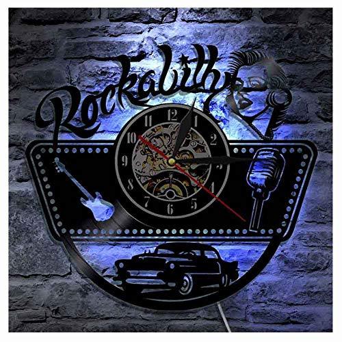 OLDFAI Vintage Wanduhr Aus Vinyl, Mit LED Hintergrundbeleuchtung Design 3D Rockabilly Muster Wand Familien Dekoratio 7 Farben Mit Fernbedienung Stille Nachtlampe Uhr (30Cm/12In)