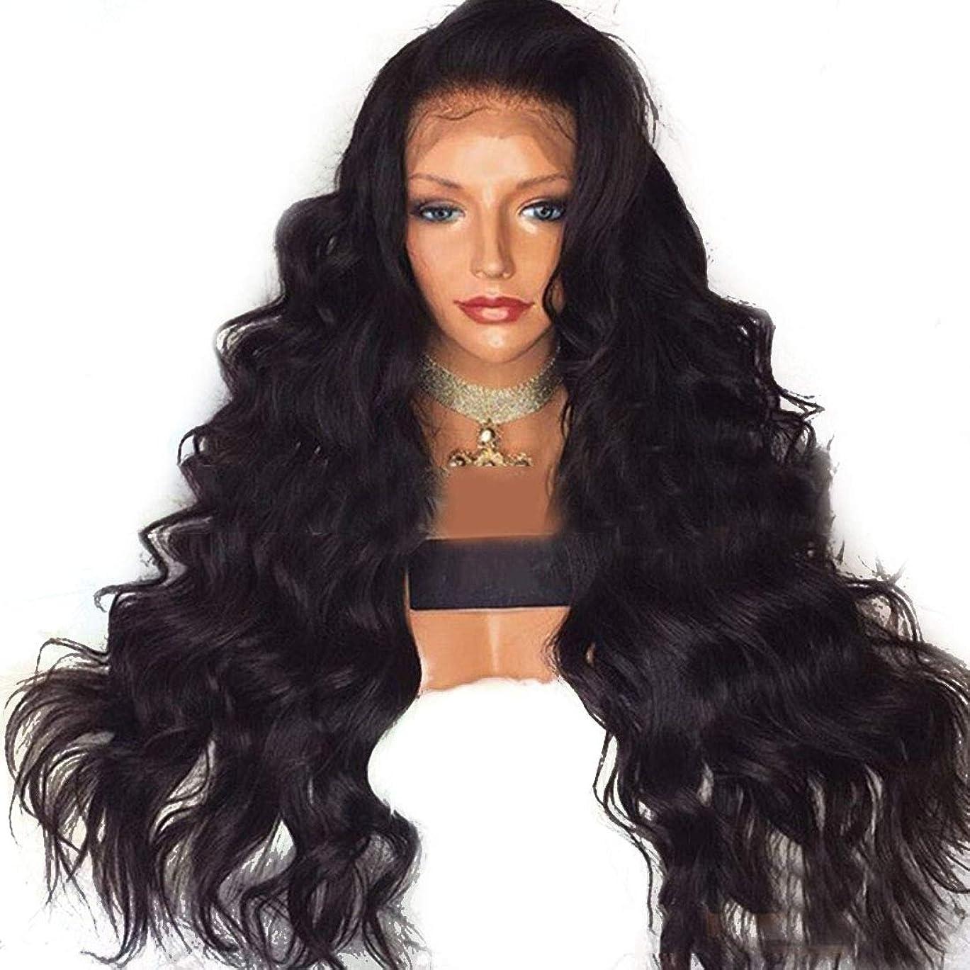 BOBIDYEE ヨーロッパとアメリカの女性の長い巻き毛のかつらレース前のかつら高温かつらウィッグ合成毛髪かつらロールプレイングかつら (色 : 黒, サイズ : 22 inches)