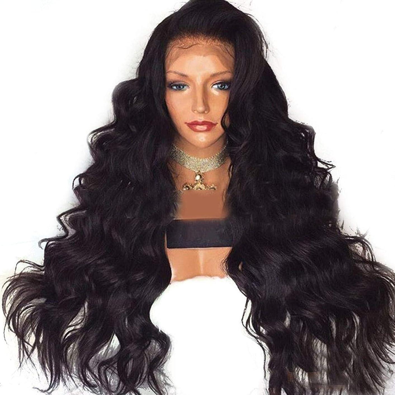 ミスクラシカルあなたが良くなりますBOBIDYEE ヨーロッパとアメリカの女性の長い巻き毛のかつらレース前のかつら高温かつらウィッグ合成毛髪かつらロールプレイングかつら (色 : 黒, サイズ : 22 inches)