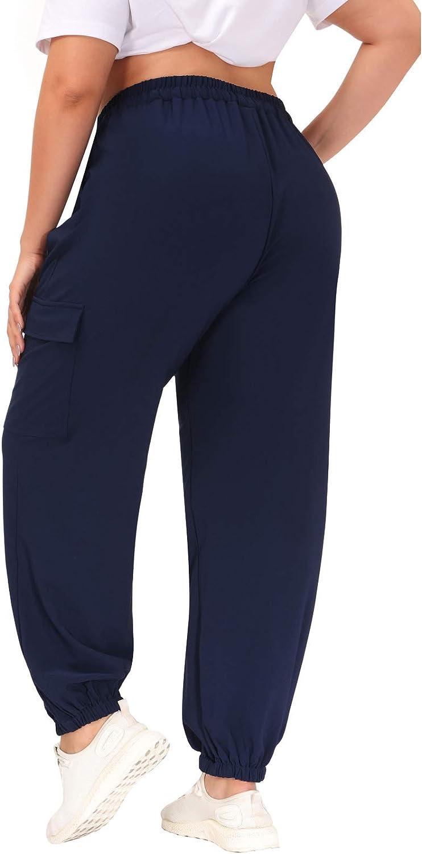 Hanna Nikole Womens Cargo Pants Elastic High Waisted Baggy Jogger Plus Size Hiking Sweatpants with Pockets