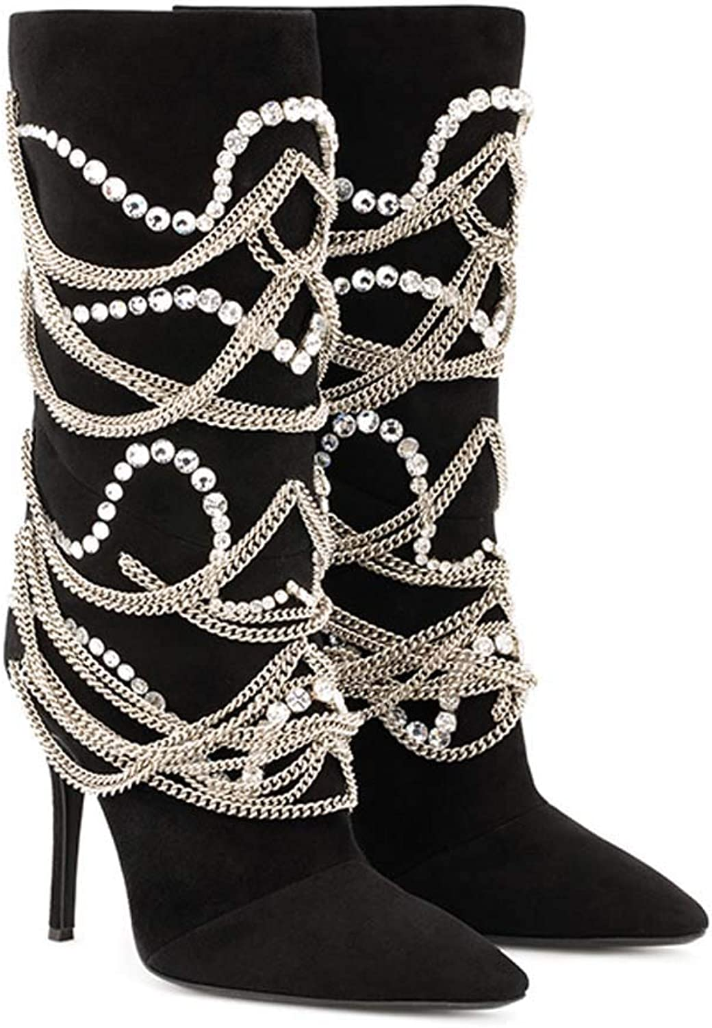 Women Pointed Boots 2018 Autumn Winter New Metal Chain High Heels Large Size Black