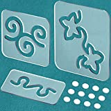 3 Pack Quilting Templates, Acrylic Quilting Rulers and Templates Transparent Quilting Rulers with Non-Slip Grips, Quilting Supplies with 3 Patterns, Free Motion Quilting Templates for Machine Quilting