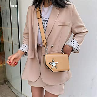 ZZZ Small Square Bag One-shoulder Metal Star Decoration Messenger Wild Fashion Women Bag Personalized fashion (Color : Khaki)