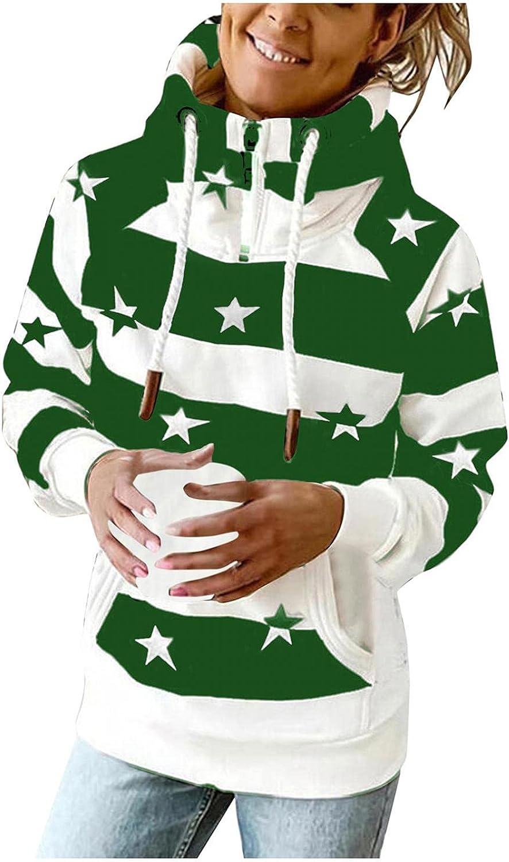 Toeava Sweatshirt for Women Casual Hoodies Long Sleeve Turtleneck Stars Stripes Pullover Tops Sweatshirts with Pocket