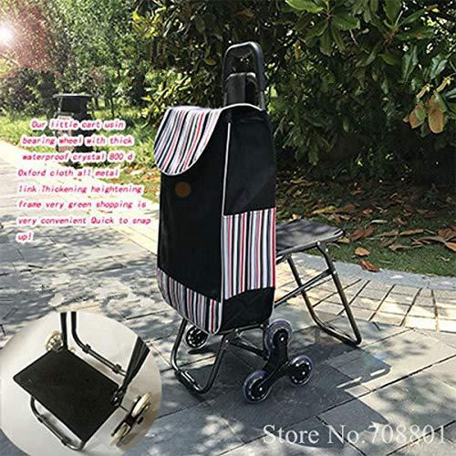 Trap klimmen Multi-Purpose Fold Utility Cart met ingebouwde stoel voor Wasserij, Kruidenier, Winkelen, Thuis Trolley met Fold Chair Blauw