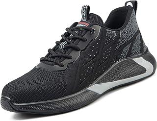 Uomo Scarpe Antinfortunistica con Punta in Acciaio Leggere Sneakers da Lavoro Antiscivolo S1P Scarpe Antinfortunistiche