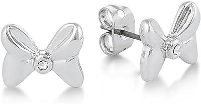 Disney Couture Minnie Mouse Rocks placcato oro bianco cristallo fiocco orecchini