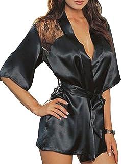 d88052c62f Creamlin Robe de soie dentelle kimono robes de nuit sexy femme robe de bain  Lingerie robe