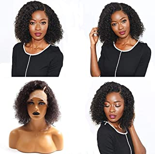 Full Lace Wigs Human Hair for Black Women Curly, LLwear 130% Density Brazilian Remy Glueless Wig Natural Hairline with Baby Hair Natural Color 12 Inch