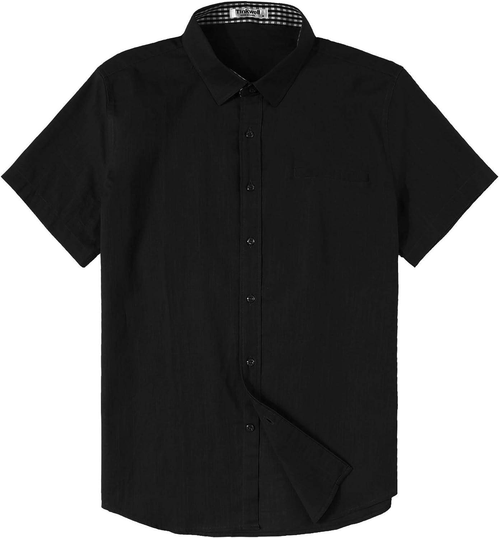 Tinkwell Men's Cotton Linen Shirt Slim Fit Short Sleeve Casual Beach Shirt