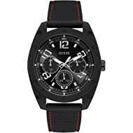 GUESS Men's Stainless Steel Japanese Quartz Watch with Silicone Strap, Black, 19.3 (Model: U1256G1)