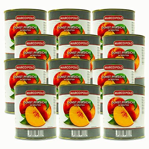 Food-United Dunst Pfirsiche in Hälften ohne Zuckerzusatz 12 Dosen Füllmenge 820g ATG 480g ohne zusätzliche Aromen naturbelassen reif geerntet und ohne Konservierungsstoffe (12 Dosen)