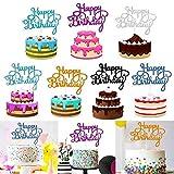 JPYH 35 Pezzi Buon Compleanno Topper per Torte Topper per Torte,Happy Birthday Cake Toppe,rCake Topper Glitter Decorazione per Festa Party Event,7 Colori