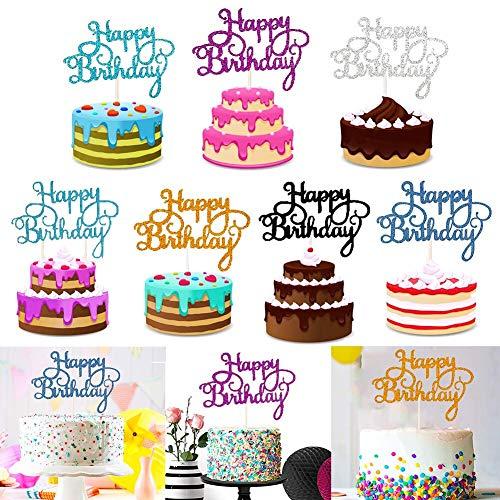 35 Piezas Topper de Tarta Decoración,Happy Birthday Cake Topper para Pasteles,Fiesta de Cumpleaños DIY Decoración Suministros,7 Colores