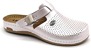 LEON 950 Leather Slip-on Womens Ladies Mule Clogs Slippers Shoes, Pearl, 36 EU (5.5 M US Women)
