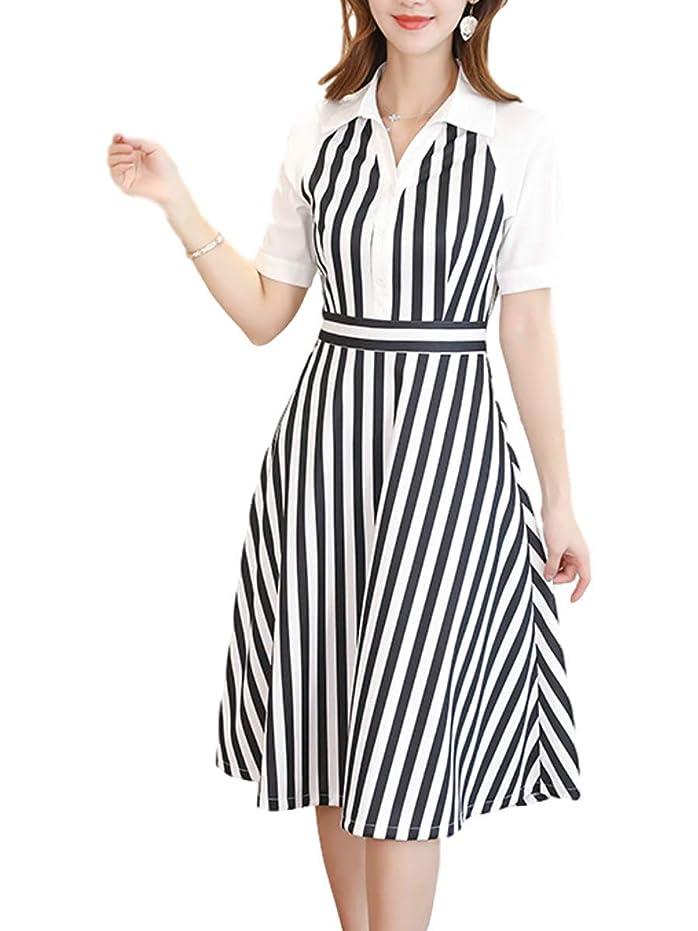 やさしくコモランマ敬意[サン ブローゼ] ストライプ 縞模様 ワンピース ドレス ウエストマーク aライン ミモレ丈 M ~ XL レディース