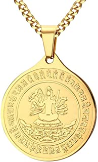 Fashion Religious Stainless Steel Buddhism Medallion Pendant Round Chain Necklace