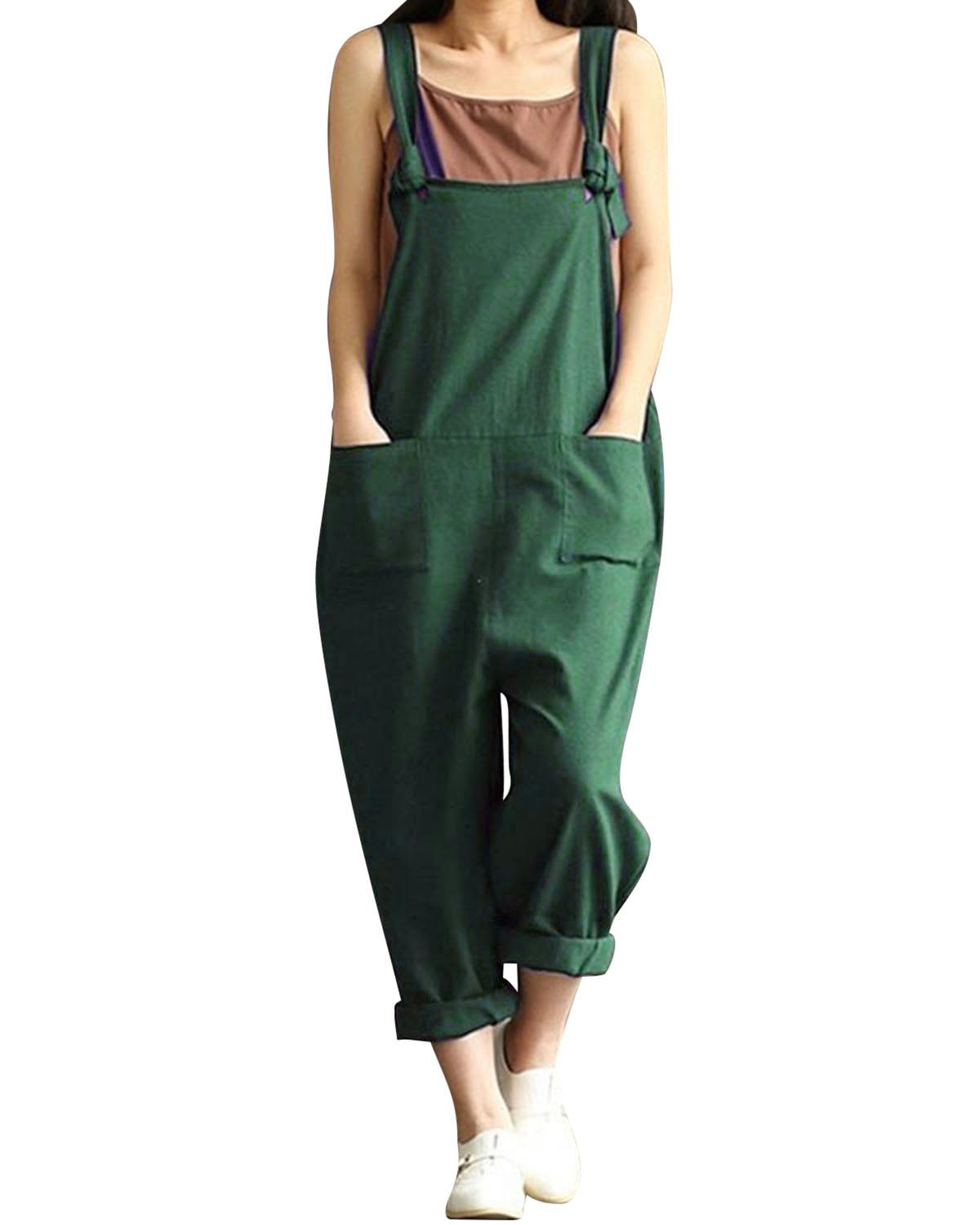 Womens Cotton Retro Loose Wide Leg Dungarees Overalls Baggy Strap Sleeveless Jumpsuits Bib Pants Casual Rompers Loose Sleeveless Long Playsuit Dungarees