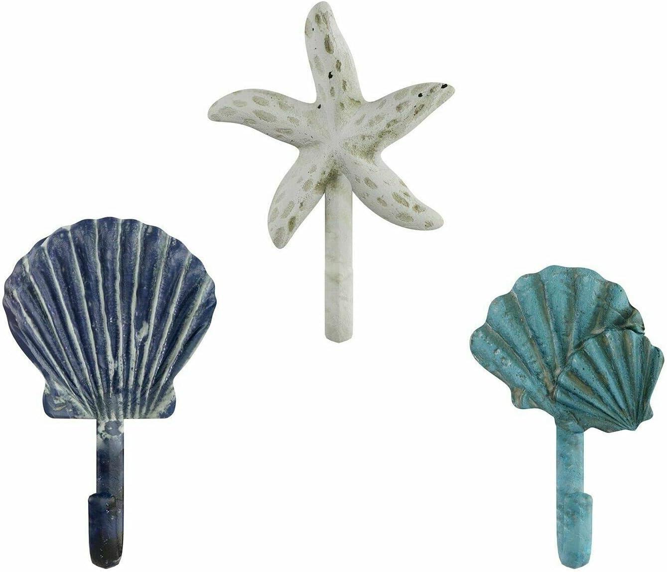 Set of Max 43% OFF 3 mart Cast Iron Nautical Sea Bathroom Fish Star T Shell Hooks