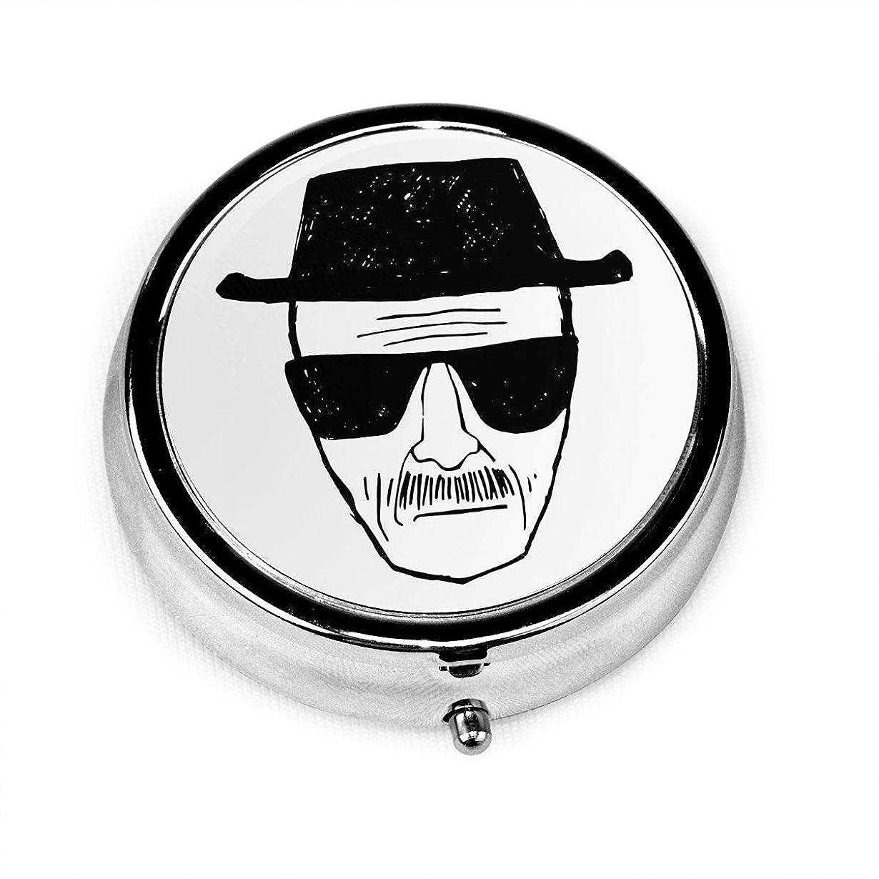 悪意のある金属時代YISANSI Heisenberg ピルケース 薬ケース 円形 携帯型 薬入れ 飲み忘れ 小物入れ ガム入れ 金属材 コンパクトサイズ 取り出しやすい プレゼント