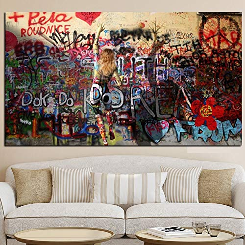 Rahmenlose Malerei Graffiti Frau auf Wand abstrakte Leinwand Poster und Wohnzimmer Straße artCGQ6652 50X75cm