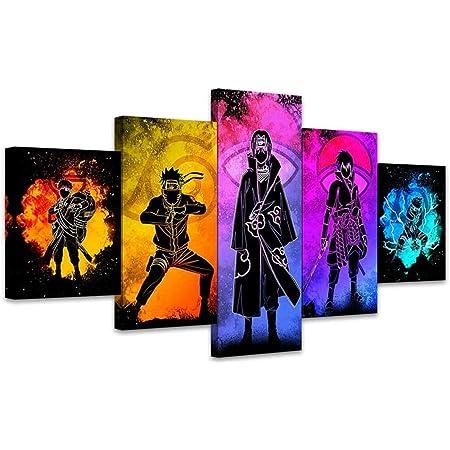 Naruto VS Sasuke HD Affiche Tableaux Decoration Murale,pour Le Salon Mur Art Affiche,A-20/×30/×2+20/×40x2+20x50/×1 LFLYBCX 5 Pieces Anime Naruto Impression sur Toile Intissee