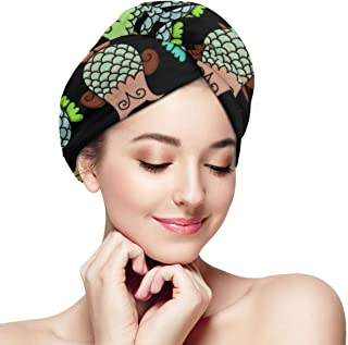 Topsy Turvy Owls Hair Towel Wrap Turban with Button, Quick Dry -Super Absorbent for Long & Curly Hair, Anti-Frizz -Bath Artifact for Women Girls Mom Daughter
