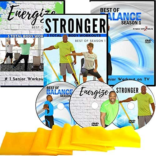 Exercise for Seniors DVD Collection 6 Total Body Workouts 10 Balance Workouts Resistance Band product image