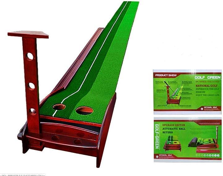 Dispositivo in legno per allenamento golf putter trainer con sistema di ritorno palla automatico liqiwi B088DPVMMD