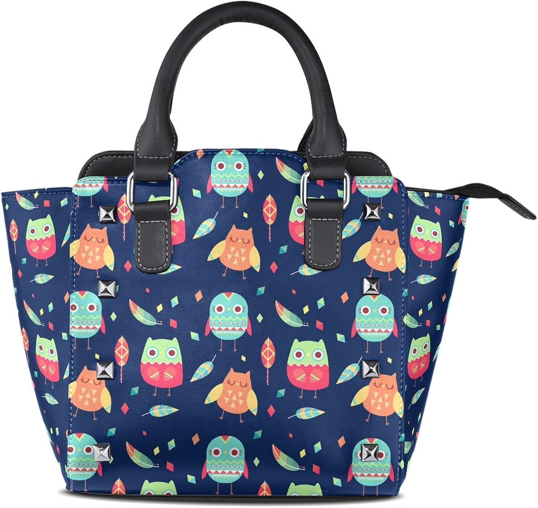 My Little Nest Women's Top Handle Satchel Handbag Cartoon Owls Ladies PU Leather Shoulder Bag Crossbody Bag