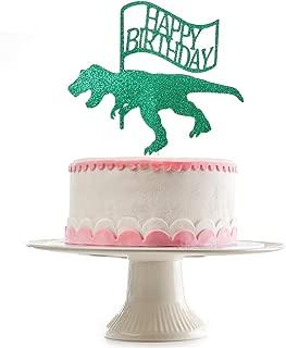 Glittery Dinosaur Happy Birthday Cake Topper for Birthday Party Decorations