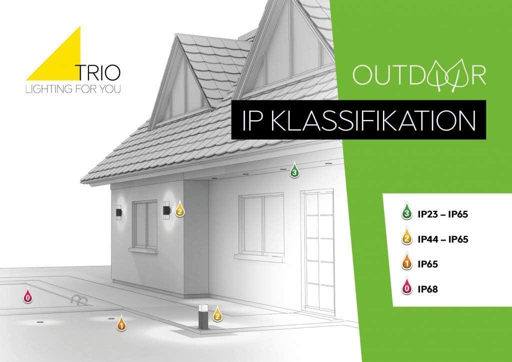 Trio Leuchten LED-Aussen-Wandleuchte Hondo in Aluminiumguss anthrazit, PVC-Schirm weiß 228960142 Titanfarbig