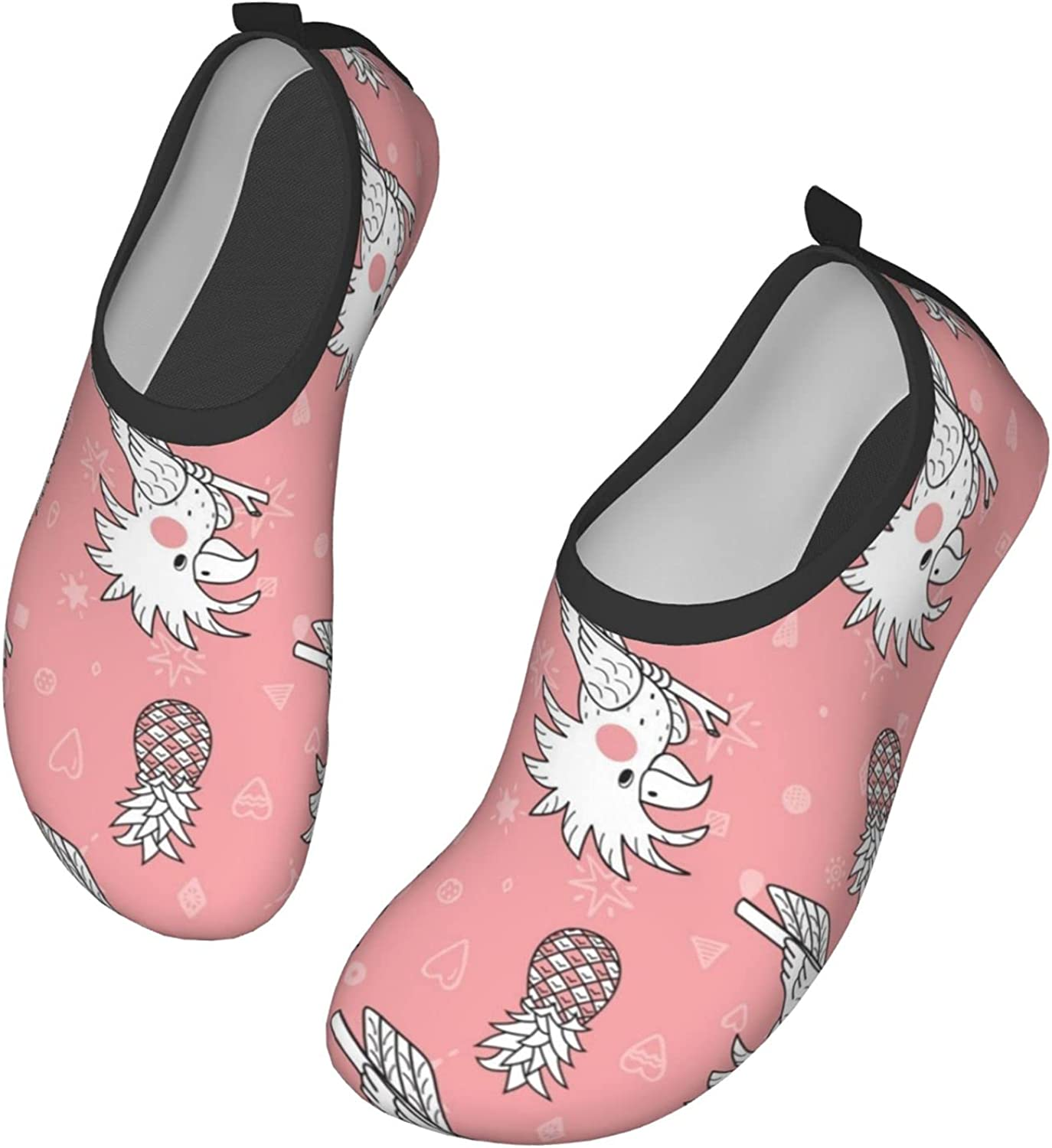 Doodle Cockatoo Parrot and Pineapple Water Shoes Mens Womens Quick Dry Barefoot Swim Beach Shoes for Pool Yoga Surfs Exercise