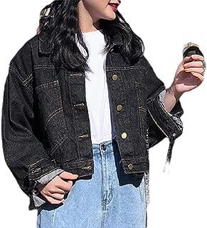 MogogoWomen Long-Sleeve Button Down Loose Boyfriend Denim Jacket Outwear