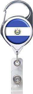 官方针织 ID 徽章夹可伸缩,金属登山扣带夹子 带夹子 世界国家 - 91.44 厘米绳长 - 经久耐用 - 非常适合悬挂钥匙、存取卡和灯具工具 El Salvador