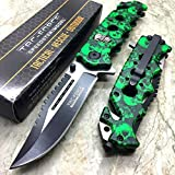 Tac Force Assisted Opening Rescue Glass Breaker Bright Green Skull Design Hunting Camping Tatical Pocket Knife