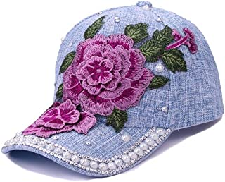 YOKST Baseball Cap Rose Embroidery Breathable Quick Drying Sports Cap Washed Size Adjustable Sunhat Polo Style Classic Trucker Hat for Men Woman (Color : Light blue)