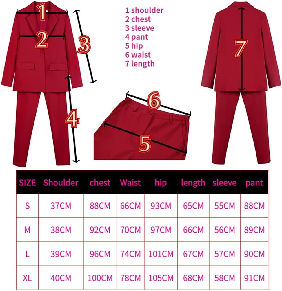 JJWC Women 2 Piece Work Suits Business Interview Suit Set Uniform Pencil Jacket and Pants Office Suit (Color : Red, Size : XL)